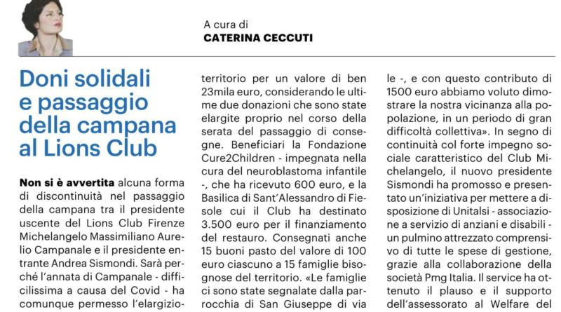 """""""Vita di club"""": il Lions Club Firenze Michelangelo è sulla Nazione"""